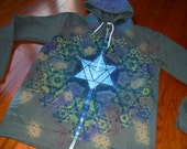 XL Metatron's Cube Fractal Merkaba Mandala Sacred Geometry Zip Hoodie w/ Flower of Life & Hexagon Mandala