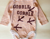 Hokie Turkey Gobble Gobble baby onesie in maroon and orange 0-3 month