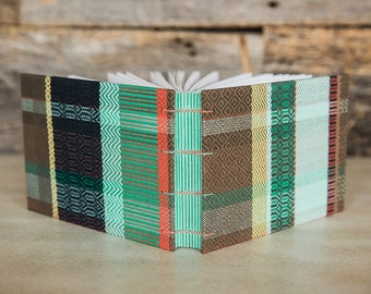 Woven fabric journal, guest book, or sketchbook (hardover book)