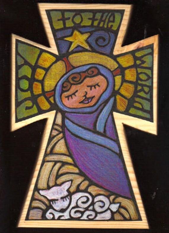 Hand painted Joy To The World Christmas Cross