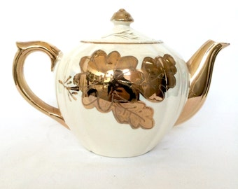 Vintage China Teapot / Cream Teapot with Gold Floral Design
