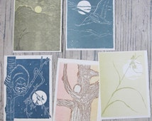 Vintage Hand Printed Cards by Gwen Frostic of Presscraft, Woodblock Prints, Vintage Folk Art Greeting Cards, Blank Inside