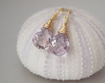 Pink Amethyst Concave Cut Briolette Gold Filled Earrings