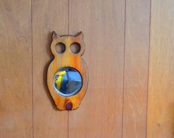 vintage handmade owl mirror wall hanging / retro owl / wood wall hanging