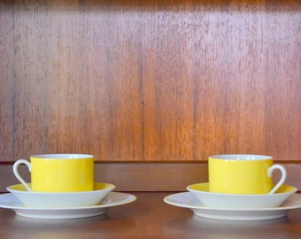 vintage fitz and floyd yellow porcelain tea set - set of two