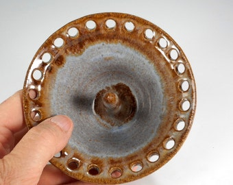 Ceramic earring bowl, pottery earring holder, pottery earring organizer, stoneware earring bowl, pottery jewelry bowl, blue and brown glaze