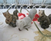 Lot of 3 Wade Squirrels Squirrel with Nut Red Rose Tea Figures Wade Pottery