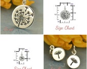 Dandelion Charms - C1620, C1621, Sterling Silver, Select Your Favorite Style, Children, Gift for Mom, Sister