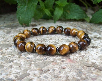 Tigers eye gemstone Beaded Meditation Stretch Bracelet with Hemalyke, Tribal Gypsy jewelry, Bohemian bracelet
