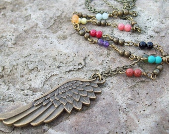 Antique Brass Wing Pendant Necklace with mixed gemstone beaded chain
