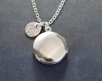 Sterling Silver Round Locket Necklace, Modern Plain Polished Photo Pendant with Hand Stamped Letter Charm - Poised and Polished