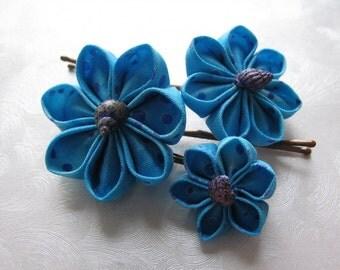 Blue Bubbles Kanzashi Shell Flower Hair Pin Trio