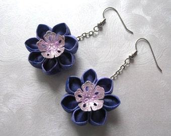 Lavender Blooms Kanzashi Flower Drop Earrings