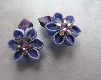 Tiny Violets Kanzashi Flower Snap Clips