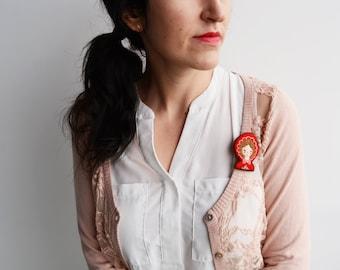 Little Red Riding Hood Wool Felt Brooch / Fairy Tale Brooch / Red Riding Hood Felt Pin / Felt Little Red Riding Hood Brooch / Embroidery Pin
