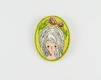 22% SALE Invisible Wind Flower Felt Brooch / One of a Kind White-Haired Girl Felt Brooch / Fantasy Girl Felt Brooch / Imaginary Portrait Pin