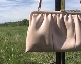 Blush Pink 80's Clutch Purse with Shoulder Strap