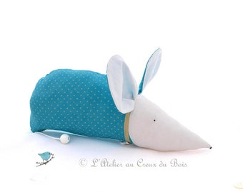 musical mobile, turquoise, mouse, baby shower, birth gift, babies boy girl, musical box