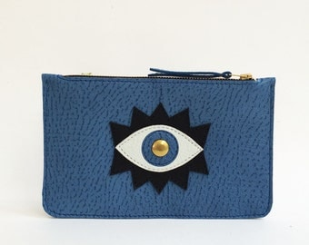 Eye leather case, make up case, pencil case, wallet, leather wallet, eyes, blue leather case, denim