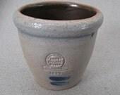 "Rowe Pottery Works Small Glazed Pot Handmade Dated 1990 2 1/4"" Small Crock"