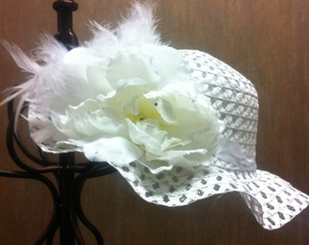 Little Girls White Tea Party Hat - First Communion - Flower Girl - Easter Hat