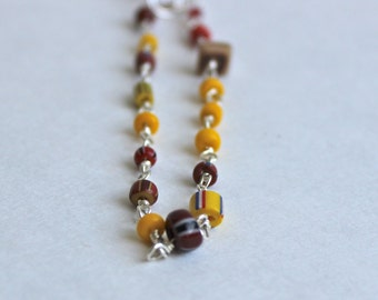 Wire Wrapped Bracelet / Trade Beads / Sterling Silver Bracelet / Silver Bracelet / Red and Yellow Beads / Red Bracelet / Yellow Bracelet