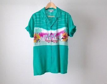 point break SURF print 80s 90s HAWAIIAN cotton short sleeve shirt