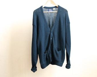 vintage men's PENDLETON CARDIGAN solid blue color sweater made in USA