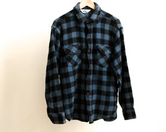 WOOLRICH 60s blue PLAID wool FLANNEL thick jacket
