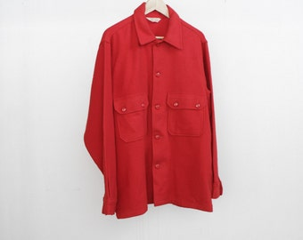 60s wool PENDLETON style flannel button up RED coat vintage jacket