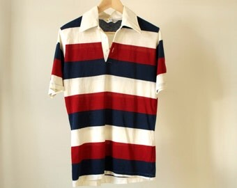 vintage 90s POLO short sleeve RUGBY style shirt men's size MEDIUM soft thin polo shirt