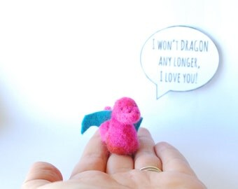 Tiny felted dragon, Needle felted dragon, Love Note, Girlfriend gift, Boyfriend gift, Engagement present