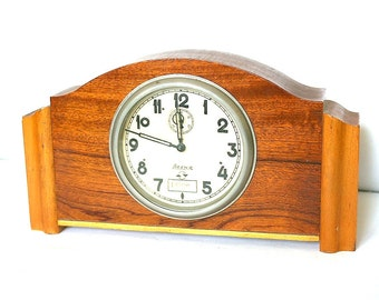 USSR Soviet Clock  Vesna Wood Working Russian Mantle Wooden Clock Mid Century Modern 1960s from Russia USSR