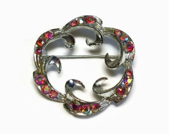 50's Modernist AB Crystal Brooch with Red Rhinestones Pave Set in Silver Abstract Motif - Vintage Circa 1950's Costume Jewelry