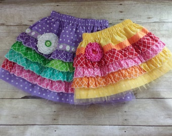 Girls Rainbow Ruffle Skirts