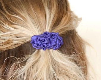 Purple small fabric french barrette hair clip