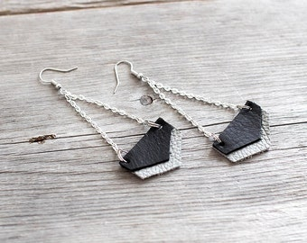 Grey and black Geometric Leather Earrings