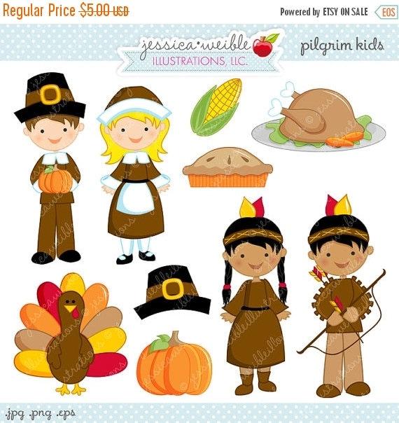 SALE Pilgrim Kids Cute Digital Clipart - Commercial Use OK - Pilgrim Cilpart, Pilgrim Graphics, Thanksgiving Clipart