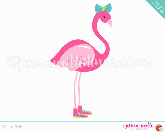 Sneakers Flamingo Cute Digital Clipart Cute Flamingo Clip
