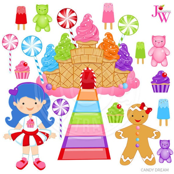 Candy Dream Cute Digital Clipart, Candy Clip art, Cupcake Graphics ...