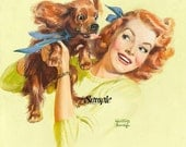 Woman and Cocker Spaniel Vintage Art Reproduction Downloadable Printable Digital Art Image Instant Download, Supplies,
