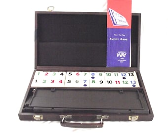Rack Rummy Game, Deluxe Set in Brown Leatherette Case