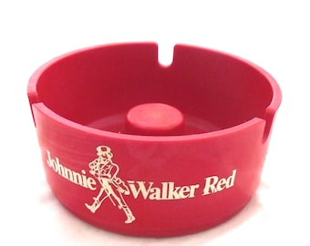 Johnnie Walker Red Ashtray, Vintage Melamine Plastic Advertising Ash Tray (A1)