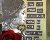 Authenticity And Possibilty  An Artist Trading Card Aceo By Alteredhead Original Artist Trading Card Motivational Mixed Media Artwork Etsy