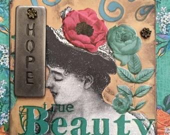 Garden Party Artist Trading Card  ACEO  ACEO Artist Trading Card Alteredhead On Etsy Artwork ATC Original Handmade Design On Etsy Artwork