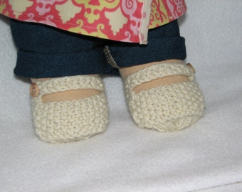 Waldorf Shoes for 15 inch Doll with Stump Feet Knit in Cream colored wool - RTG - ready to go