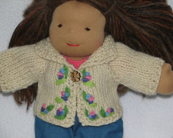 Waldorf style Doll Sweater for 10 inch doll RTG hand knit and hand embroidered