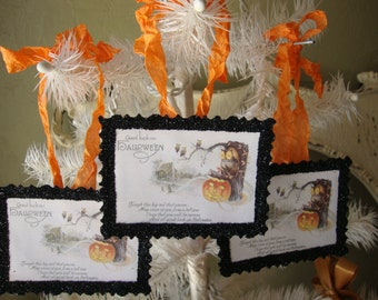 Halloween gift tags vintage style Owls and pumpkins Victorian Halloween card scrap tags party favor tags Halloween Hostess gifts