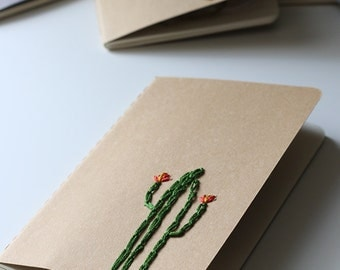 Cactus- hand embroidered moleskine pocket notebook *LINED*