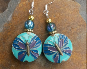 Blue Butterfly Earrings, Gold and Blue Butterfly Sterling Silver Earrings, Gold Butterfly Blue Purple Earrings, Butterfly Earrings
